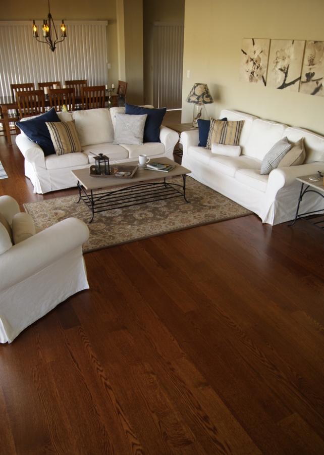 Finished product: Eutree Forest Free white oak wide plank hardwood flooring.