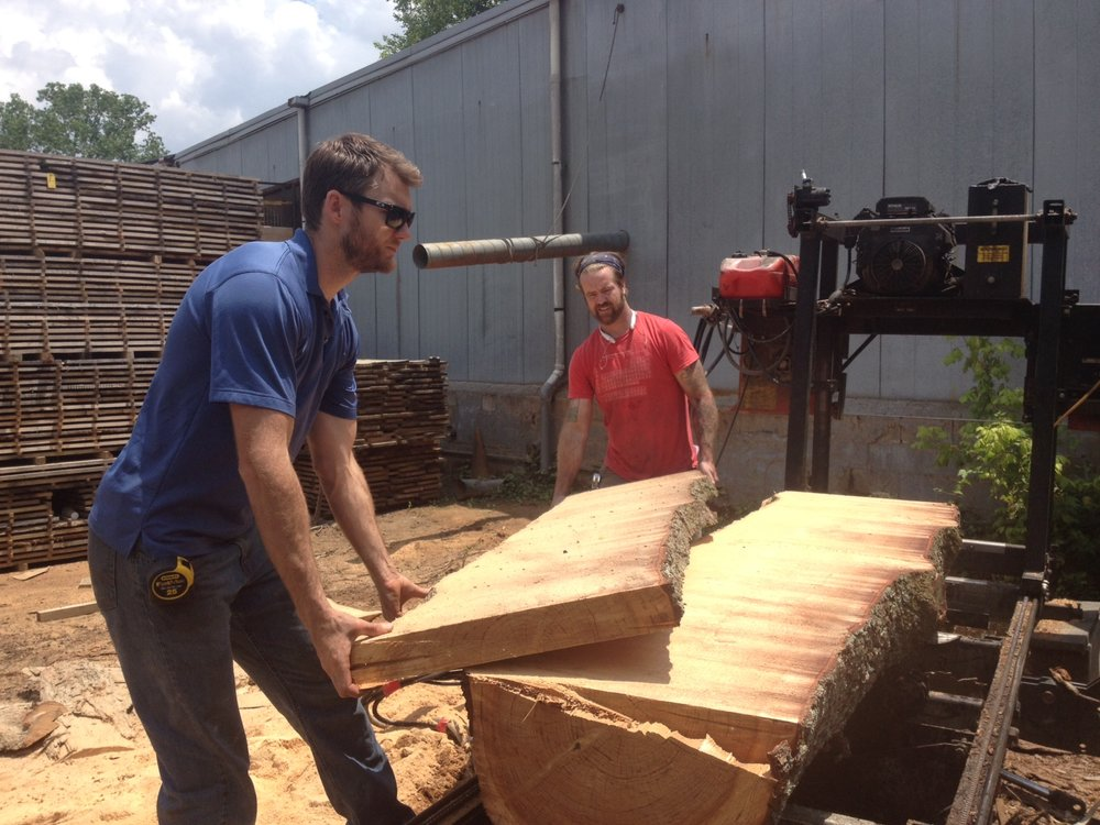 Logs are milled, cut into slabs and kiln dried at Eutree.