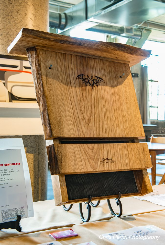 Craig Stehle, a local educator, journeyman, and industrial designer, took some of the maple boards and fabricated this custom bat box. Bats play a key role in pollinating plants and are natural pesticides against mosquitoes. Photo credit: Chris Herrin Photography.