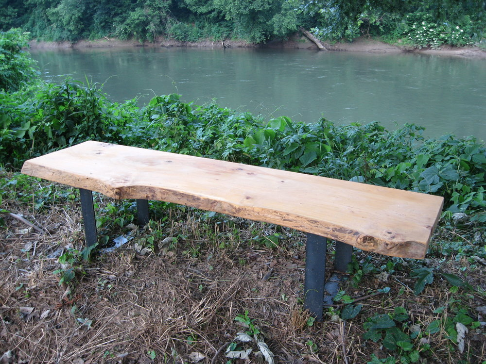 Benches are also placed along the bank overlooking the Chattahoochee River.