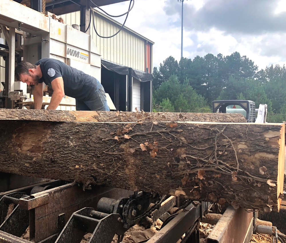 Each log is carefully inspected for nails, metal and other debris prior to sawing.