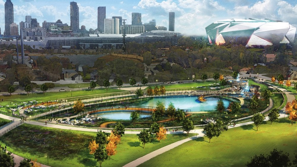 Falcons owner Arthur Blank and the City of Atlanta have committed to investing in neighborhoods surrounding the new Mercedes-Benz stadium to stimulate jobs, reinvest and improve infrastructure in neighborhoods that were once home to the Rev. Martin Luther King Jr. and top lieutenants in the equal rights movement.  The Rodney Cook Sr. 16-acre park, scheduled to open summer 2019, will serve a number of key roles including: a community gathering place, a monument to peace and the city's place in the Civil Rights Movement and a stormwater retention pod to fix vexing flooding issues that have plagued Vine City. The park will also become part of a network of parks and trails connected to the Beltline.  (above photo is rendering)