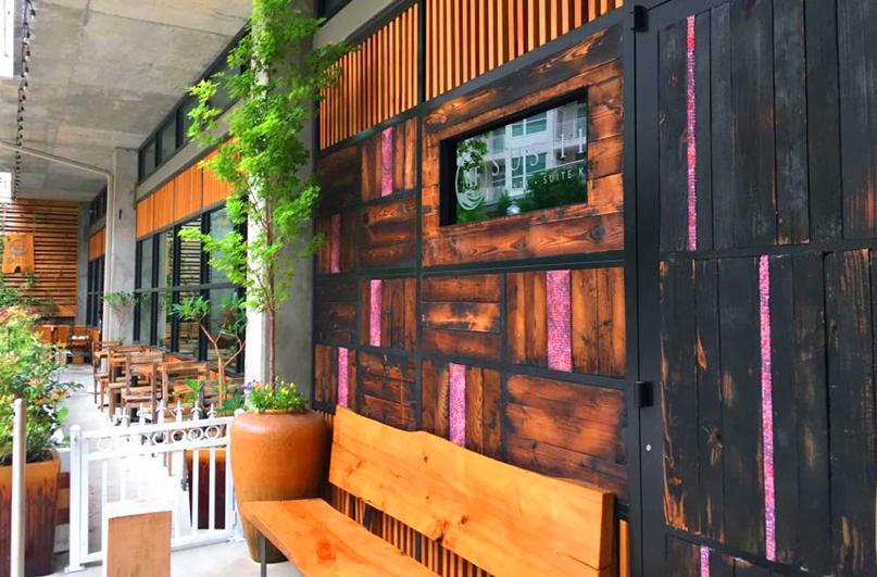 MF Sushi - Eutree Forest Free Shou Sugi Ban Charred Wood Paneling and Live Edge Wood Slab Benches
