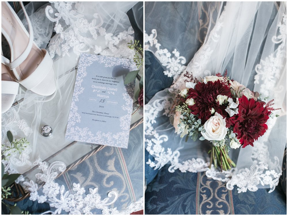 christmas house wedding bridal details lace invitation burgandy bouquet carrie vines