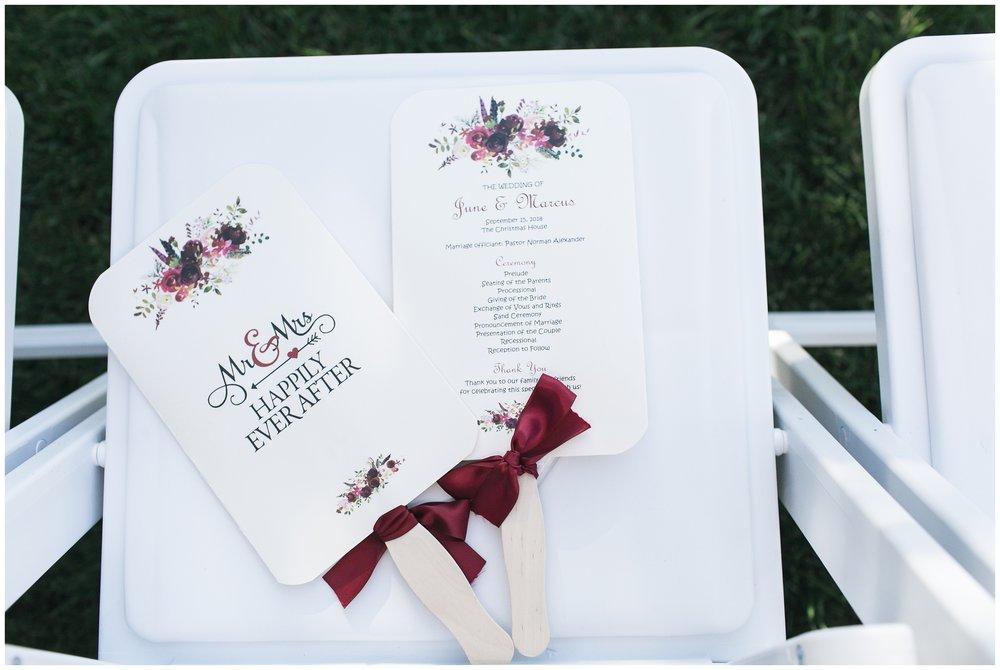 elegant christmas house burgandy wedding program fans carrie vines