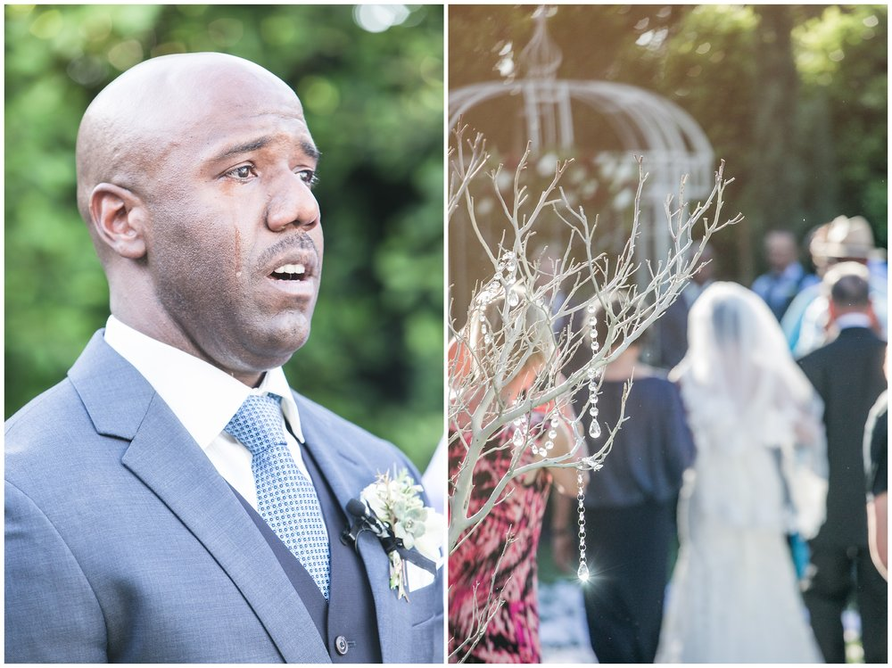 christmas house wedding groom crying seeing bride come down the aisle carrie vines