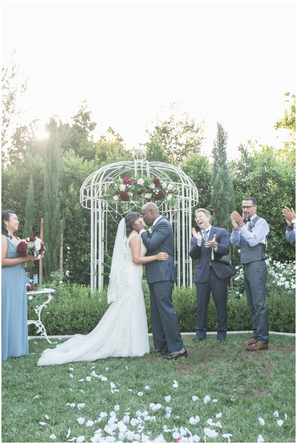 christmas house wedding bride and groom first kiss carrie vines