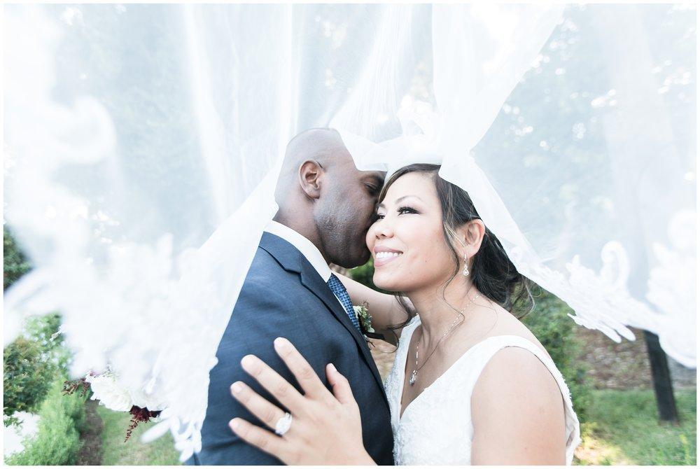 christmas house wedding bride and groom portraits under bride's veil carrie vines