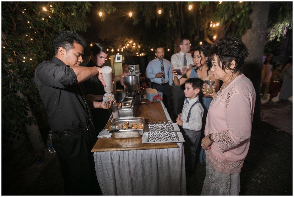christmas house wedding reception donut bar mom's mini donuts carrie vines