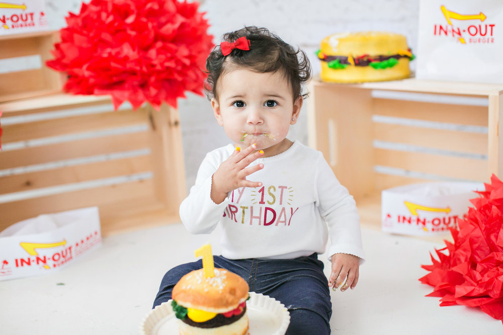IN-N-OUT Cake Smash Session Redlands Baby Photographer