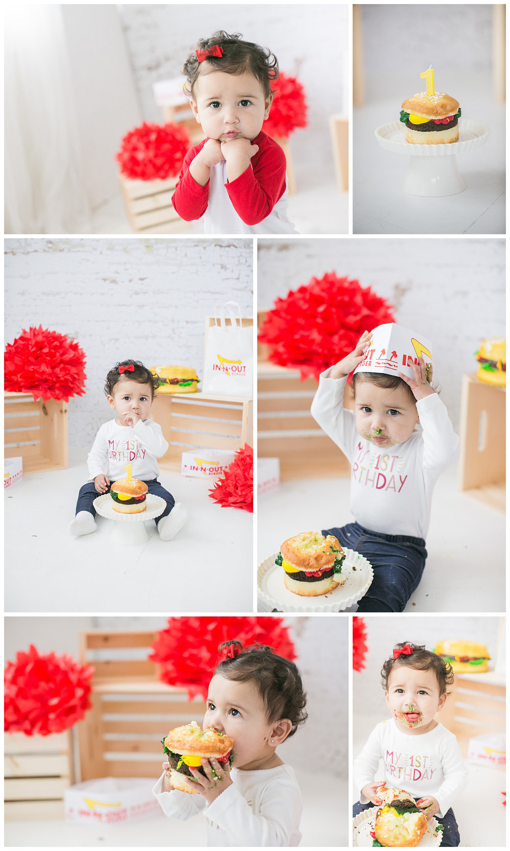Emily is enjoying her hamburger cake during her IN-N-OUT cake smash session, Carrie Vines Redlands baby photographer.