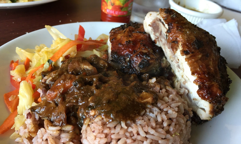Jerk Chicken with Rice + Peas