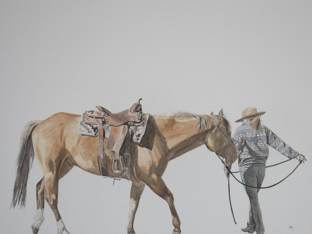 amber | Women of the west | watercolor series by western artist Melissa DiNino | montana