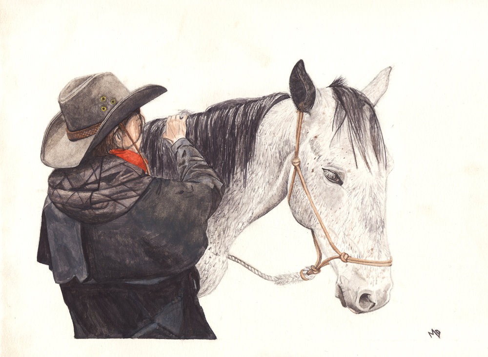 Eva + amigo | Women of the west | watercolor series by western artist Melissa DiNino | montana