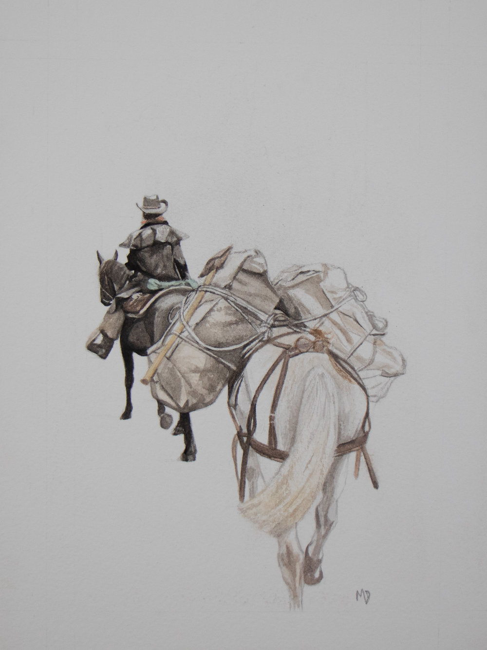 Eva + the pack trip | Women of the west | watercolor series by western artist Melissa DiNino | montana