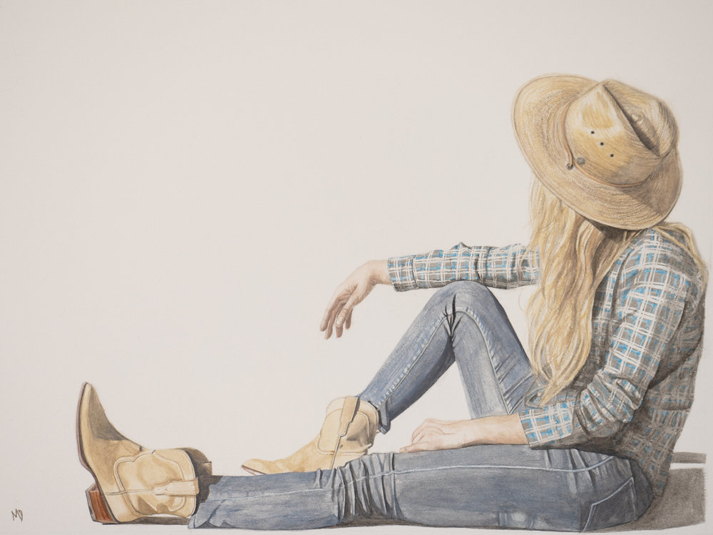 Katie (Tecovas The Lucy boot | stetson cowgirl hat) | Women of the west | watercolor series by western artist Melissa DiNino | montana