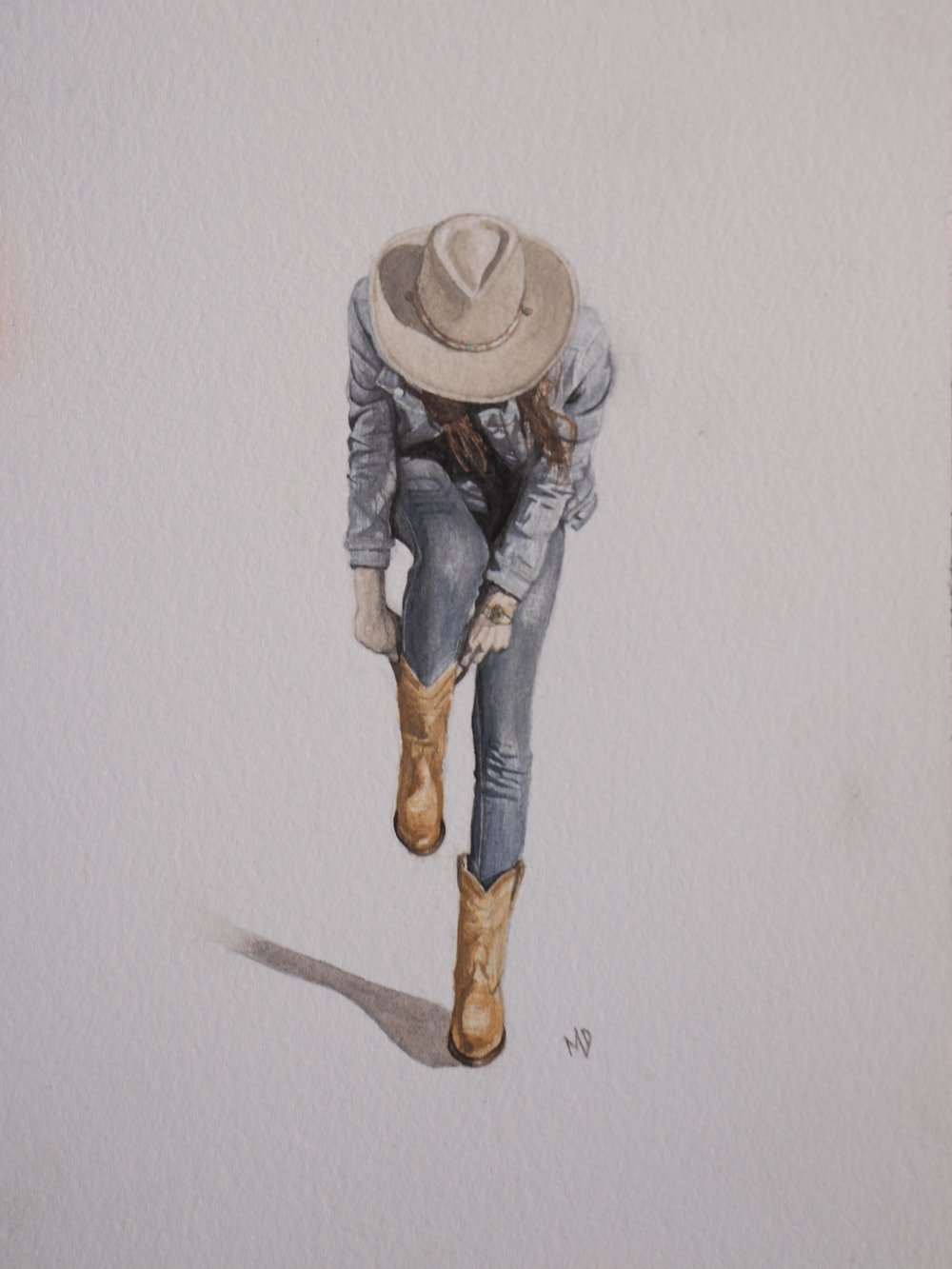 Jamie (Tecovas)   Women of the west   watercolor series by western artist Melissa DiNino   montana