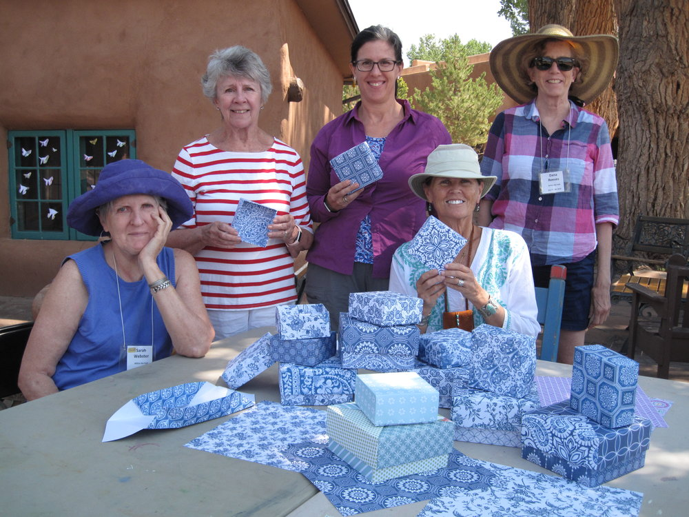 Students in my origami container workshop, Within the Fold, at Ghost Ranch in New Mexico. See Workshops to register.