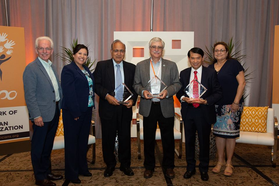 Leadership Award Honorees at the 2018 NEPO Summit   From left to right: James T. Hay, MD; Lupe Alonzo-Diaz; Satinder Swaroop, MD; David Goldschmid, MD; Randal Pham, MD; and Margaret Juarez, MD