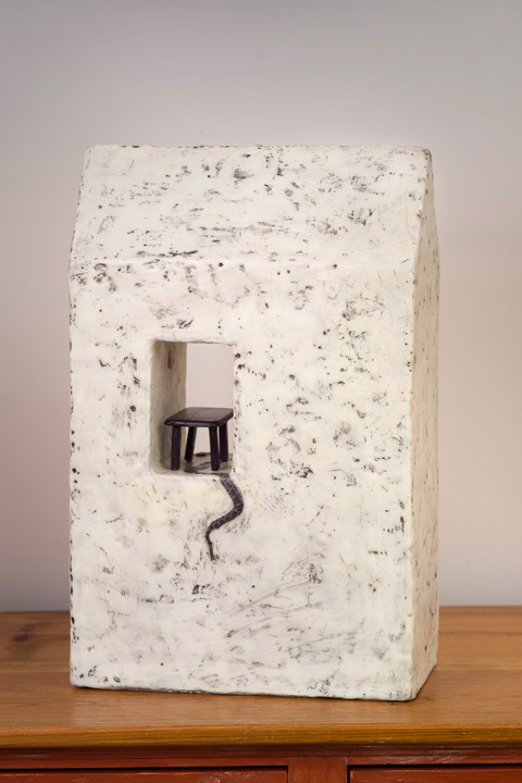 "Family Table - 2006 | Encaustic, cardboard, snake skin and oil stick on wood panel | 19"" x 12"" x 6"""