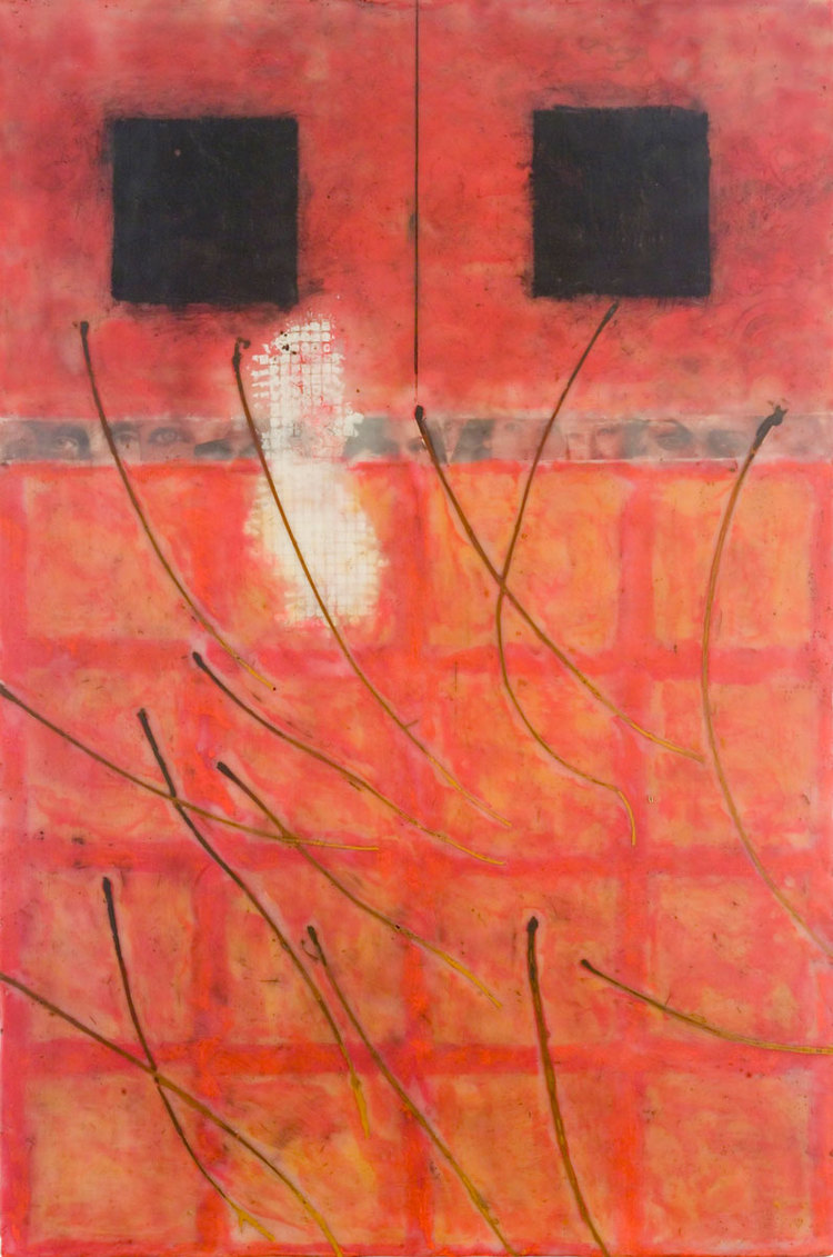 "Bombardment - 2005 | Encaustic, paper, cardboard, and oil stick on wood panel | 30"" x 20"" x 2"""