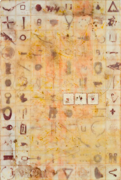 "96 Secrets - 2006 | Encaustic, skrim, threads and oil stick on wood panel | 30"" x 20"" x 2"""