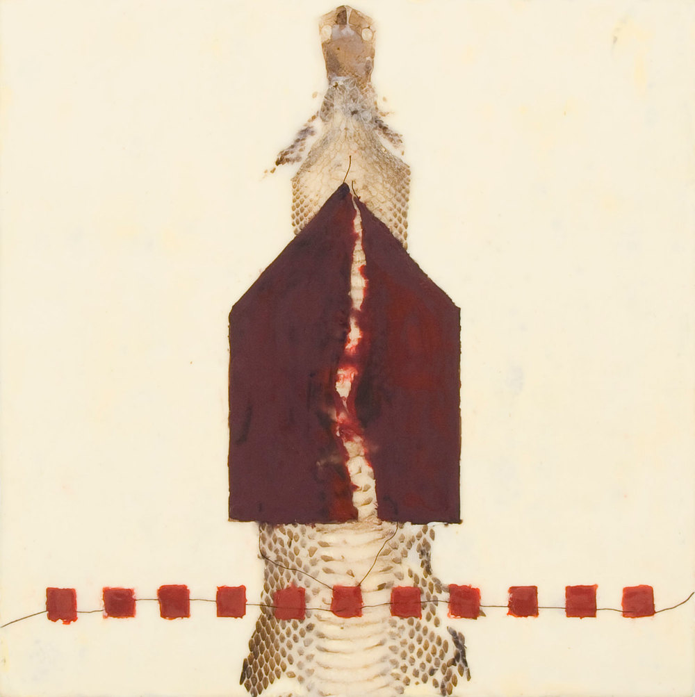 "Good Housekeeping #3 - 2008 | Encaustic, snake skin, thread and oil stick on wood panel | 12"" x 12"" x 2"""