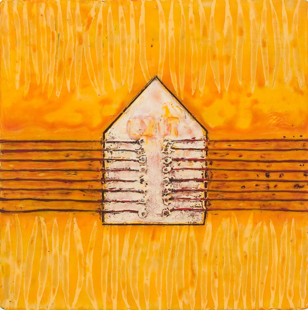 "Good Housekeeping #9 - 2008 | Encaustic, thread and oil stick on wood panel | 12"" x 12"" x 2"""