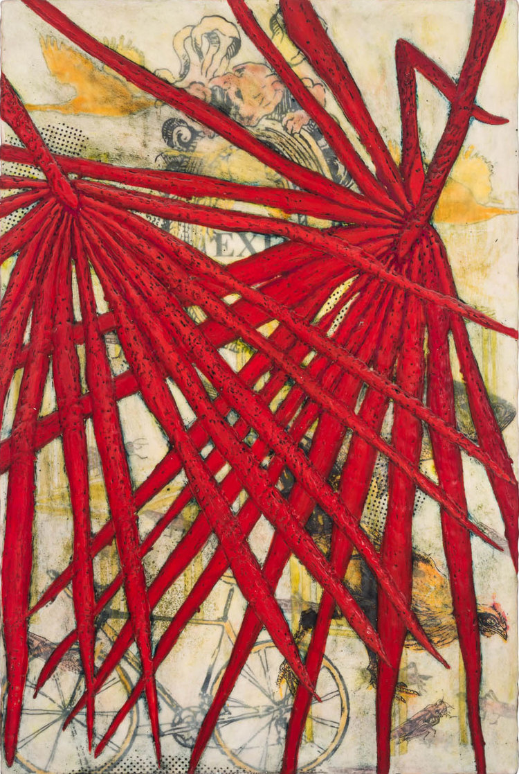 "Red Psalms - 2012 | Encaustic and oil stick on wood panel | 30"" x 20"" x 2"""