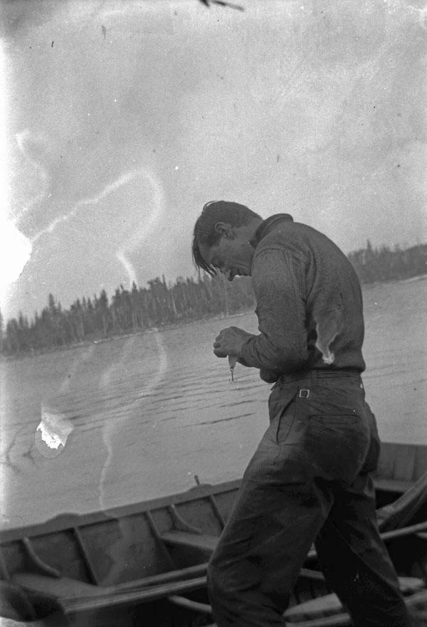 Tom Thomson Fishing in Algonquin Park, Ontario. Circa 1914-1916