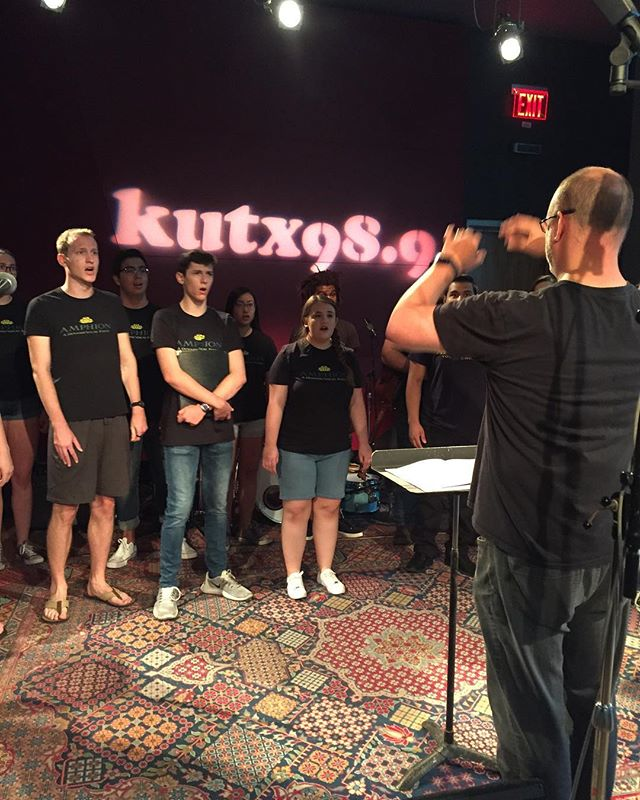 Warming up for our taping in Studio 1A with @kutx and John Aielli! • • • • • #kutx #amphion2018 #voxelectronica #localmusic #austin #austinlivemusic #choirmeetselectronic