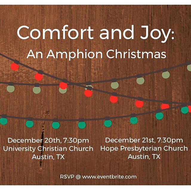 You are invited to Comfort and Joy: An Amphion Christmas! This annual tradition brings current Amphion members and alumni together for the singing of old and new, traditional and contemporary songs. These two concerts are free to the public, so we hope to see you there! RSVP at the link in our bio! #amphionchristmas2018