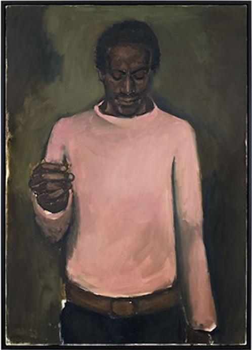 """""""Jewel""""  Lynette Yiadom-Boakye  2012  Oil on canvas  55-1/8 x 39-1/2 in."""