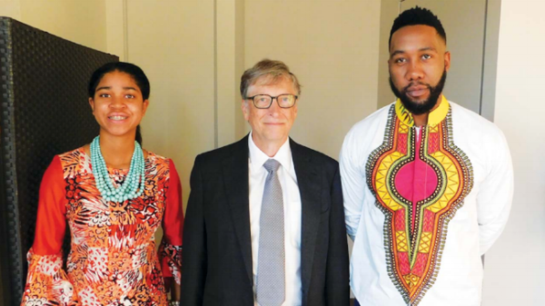 Zuriel Oduwole, Bill Gates, Ndaba Mandela at Printemps Solidaire.png