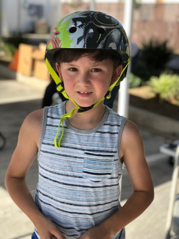 Just a kid and his cool, new, perfectly fitting helmet.