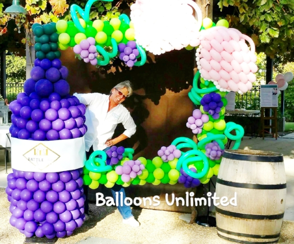 Kathy, owner of Balloons Unlimited with one of her creations