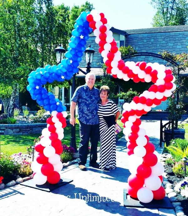A patriotic, balloon archway