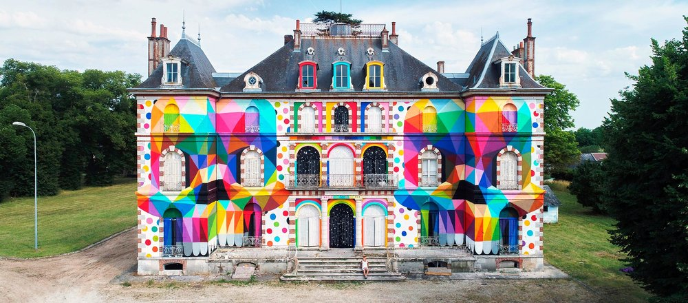 Skull Mirror   Okuda San Miguel returned to France in July 2017 to work in a By Night Gallery curated project embedded with history. Answering to an invitation by Urban Art Paris, Okuda painted the exteriors of the Chateau de La Valette, a late XIX century castle in the department of Loiret, in the central region of Val de Loire between the 2nd and 6th of July, during the LaBel Valette Festival in Pressigny-les-Pins.  Follow on  Instagram