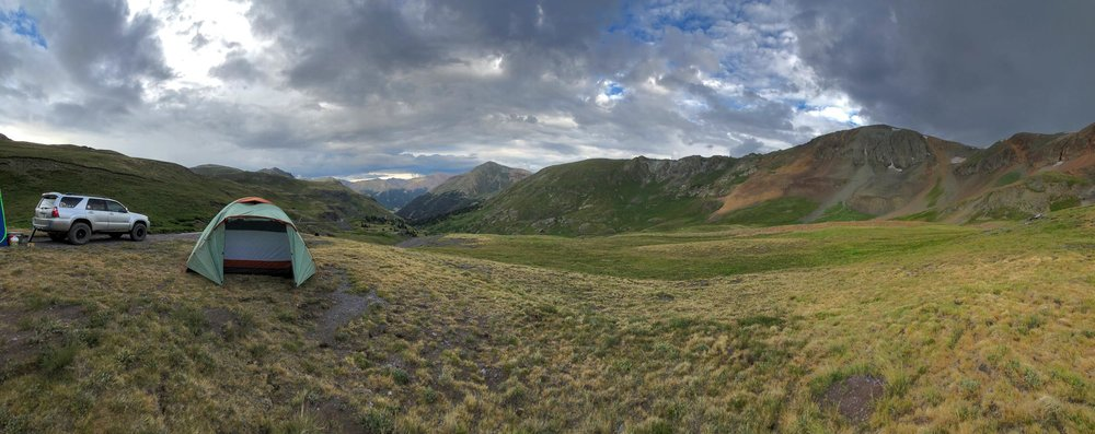 Camping along Cinnamon Pass in the San Juan Mountains - Iphone 8 Plus, Moment Wide Lens Panorama