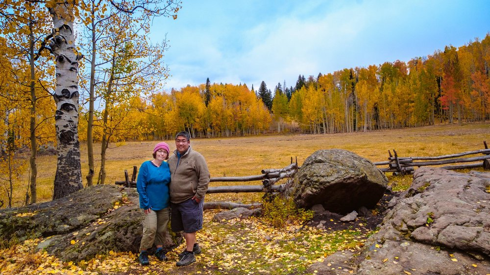 Reg and I at Deb's Meadow - had to show her some John Wayne/True Grit spots. This is where Rooster Cogburn had the shoot out with Ned Pepper. It's a beautiful scene in the fall - Fuji XT2, XF 14mm f/2.8