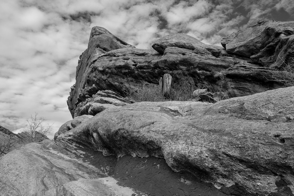 Day 9 - 365 B&W Challenge - The layers of sedimentary rock at Red Rocks Park - Fuji XT-2, XF 23mm f/2, Acros R Film Simulation