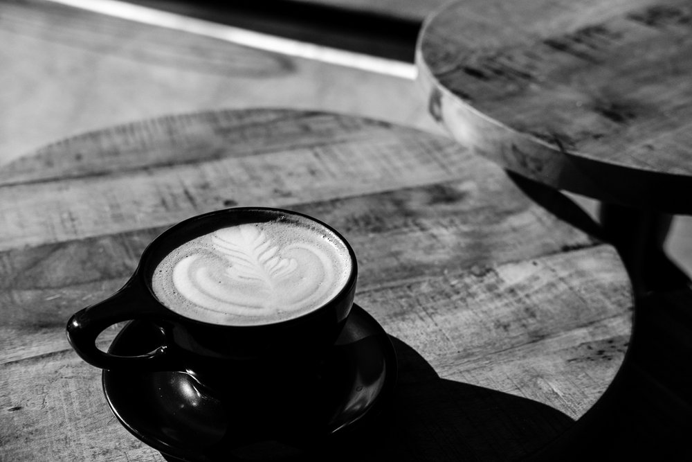 Day 16 - 365 Day B&W Photo Challenge - The morning sun shines on a Sweet Latte at Legend's Coffee Shop