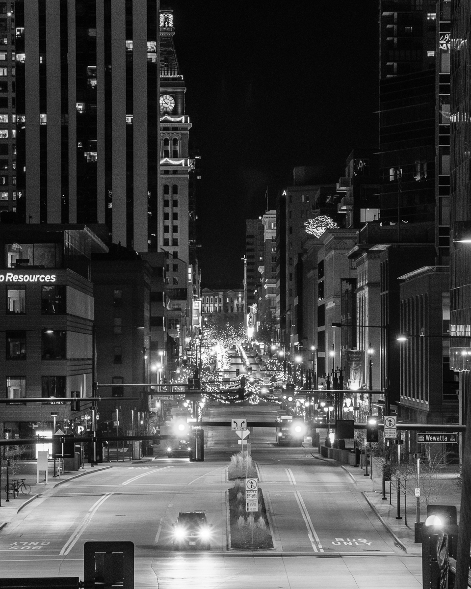 Day 23 - 365 B&W Photo Challenge - View of the 16th Street Mall from the Millennium Bridge - Fuji XT-2, XF 50-140