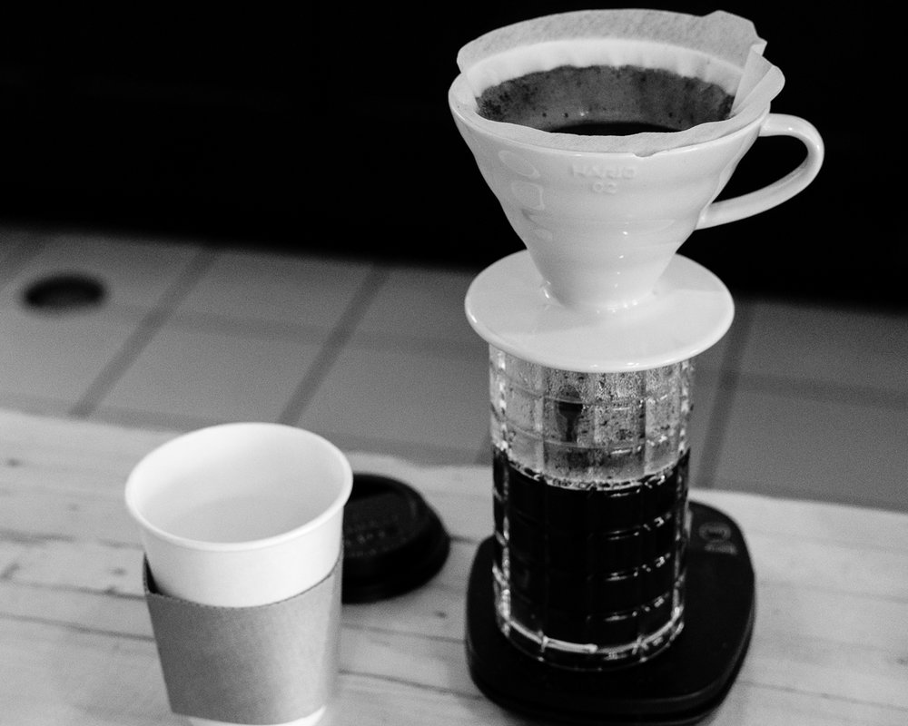 Day 26 - 365 Day B&W Photo Challenge - v60 Pourover at Legend's Coffee Shop - Fuji XT-3, XF35mm f/2, Acros R Film Simulation