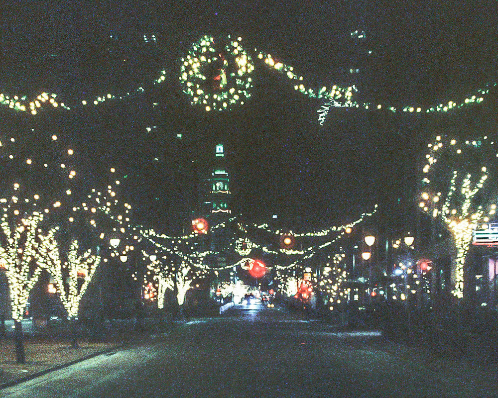 The holiday lights along the 16th Street Mall in Denver, Colorado