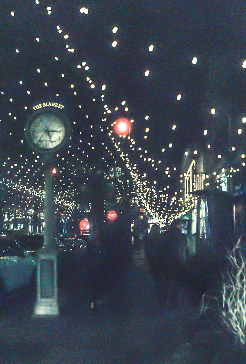 The holiday lights at Larimer Square