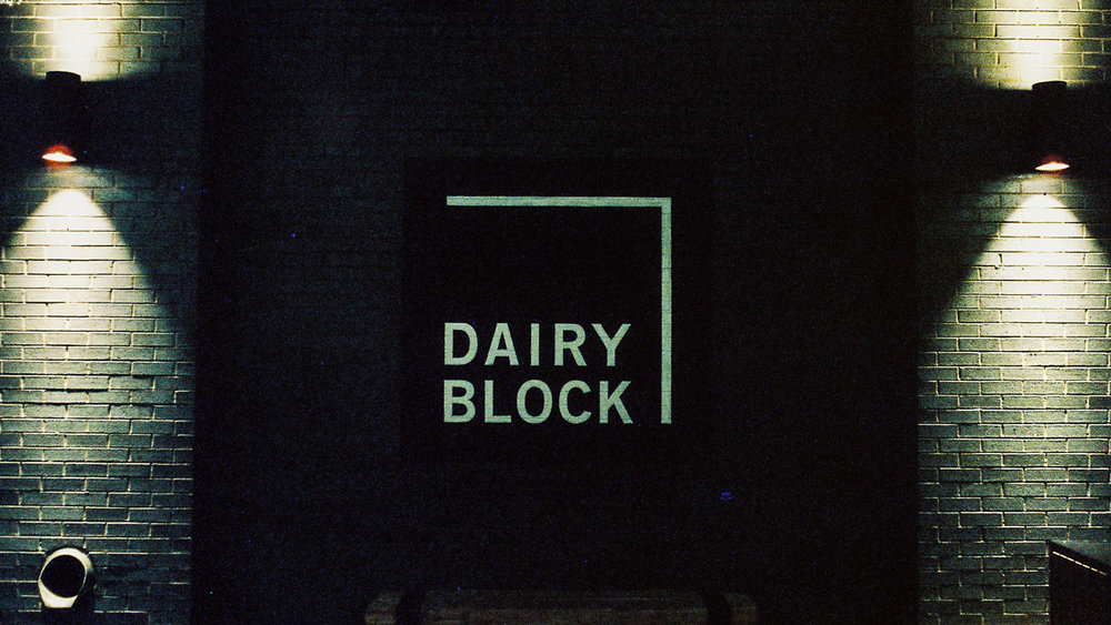 The Dairy Block sign near the Denver Milk Market in Denver, Colorado