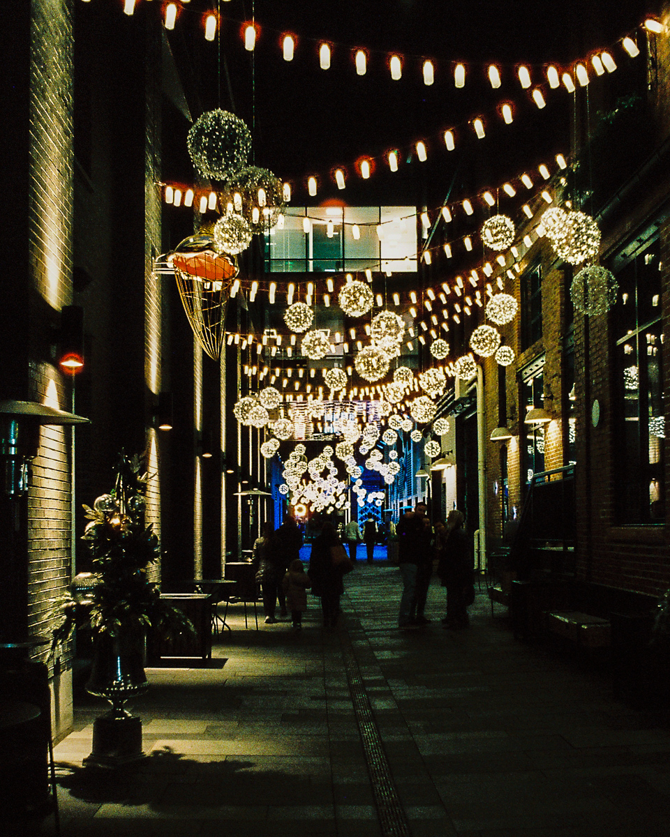 The lighted alley at the Dairy Block in Denver, Colorado