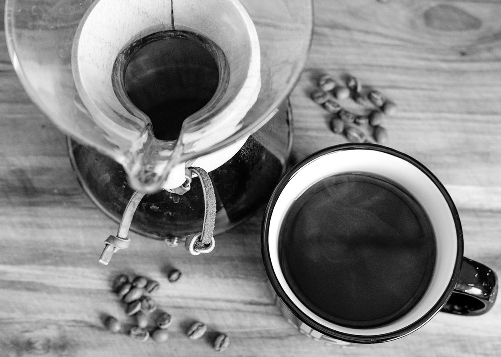 Day 33 - 365 Day B&W Photo Challenge - Cup of coffee via Chemex Pour Over - Fuji XT-3, XF35mm f/2, Acros R Film Simulation