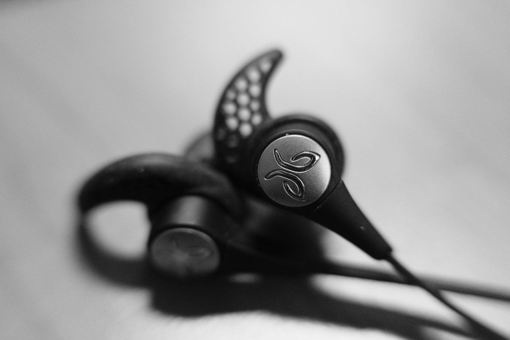 Day 49 - 365 Day B&W Photo Challenge - Macro of the Jaybird Logo on the X3 earbuds, Fuji XT-3, 35mm f/2 , MCEX-11 Extension Tube, Acros R Film Simulation,